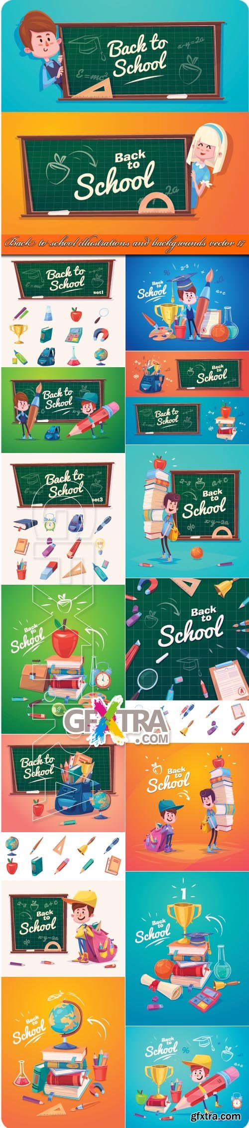 Back to school illustrations and backgrounds vector 17