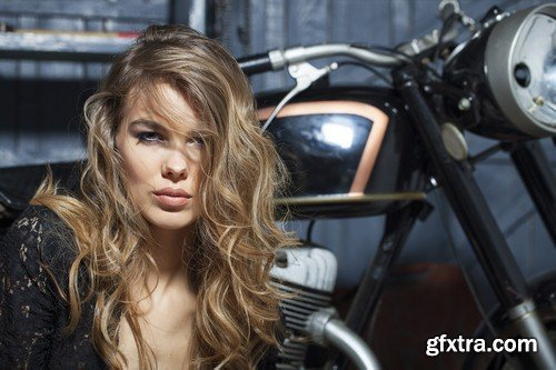The girl and a motorcycle