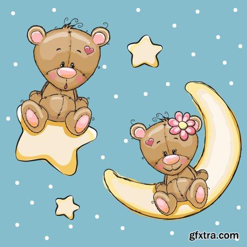 Children postcard cute cartoon animals vector