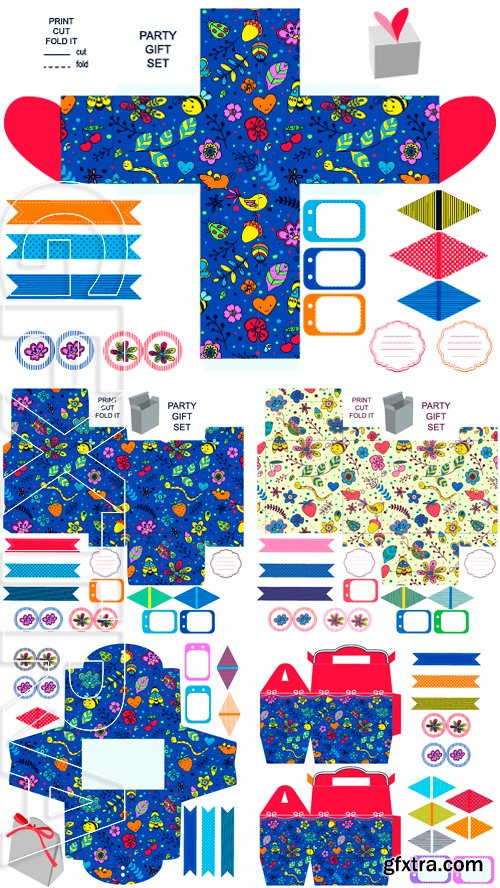 Stock Vectors - Party set. Gift box template. Abstract flowers and insects pattern. Empty labels and cupcake toppers and food tags