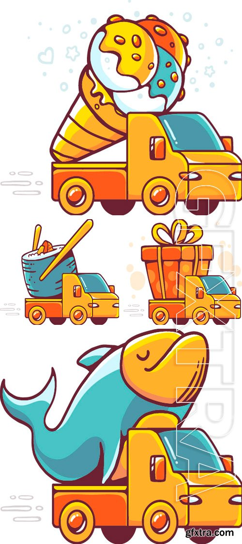 Stock Vectors - Vector colorful illustration of red car takes great yellow ice cream on white background