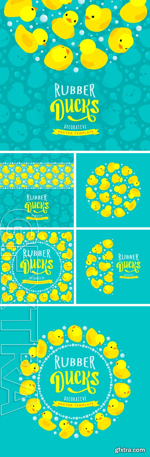 Stock Vectors - Vector decorating design made of yellow rubber ducks. Colorful card template with copy space