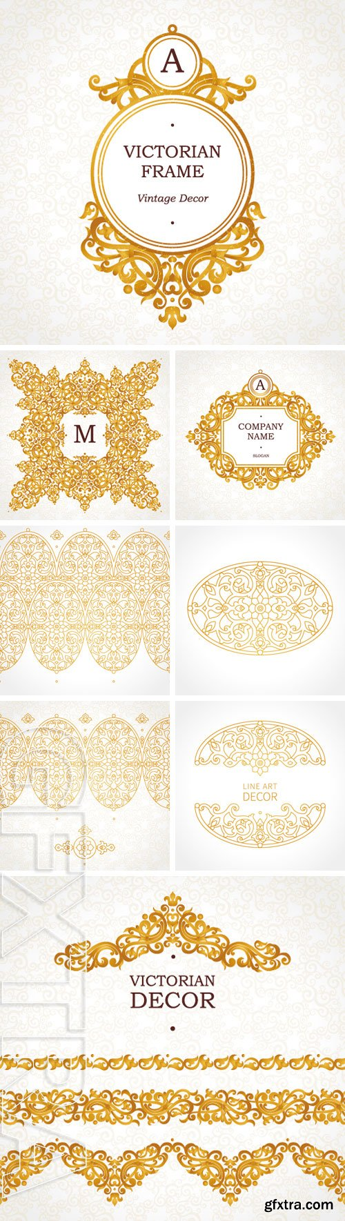 Stock Vectors - Vector ornate seamless borders in Victorian style. Element for design, place for text. Traditional golden decor