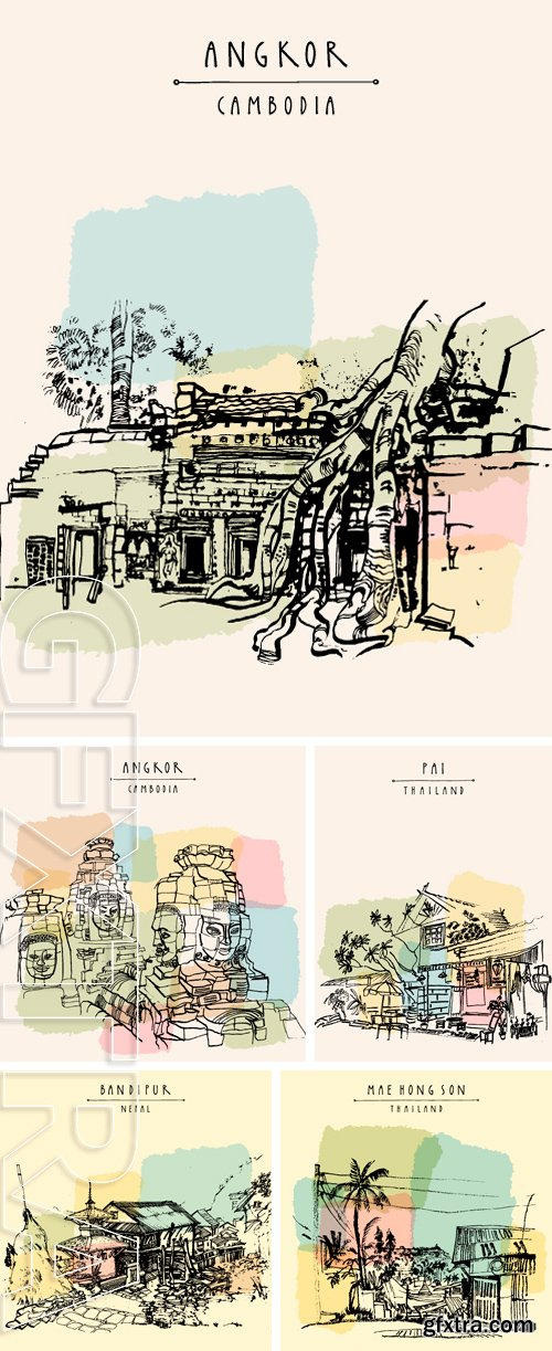 Stock Vectors - Vector travel postcard template with hand drawing