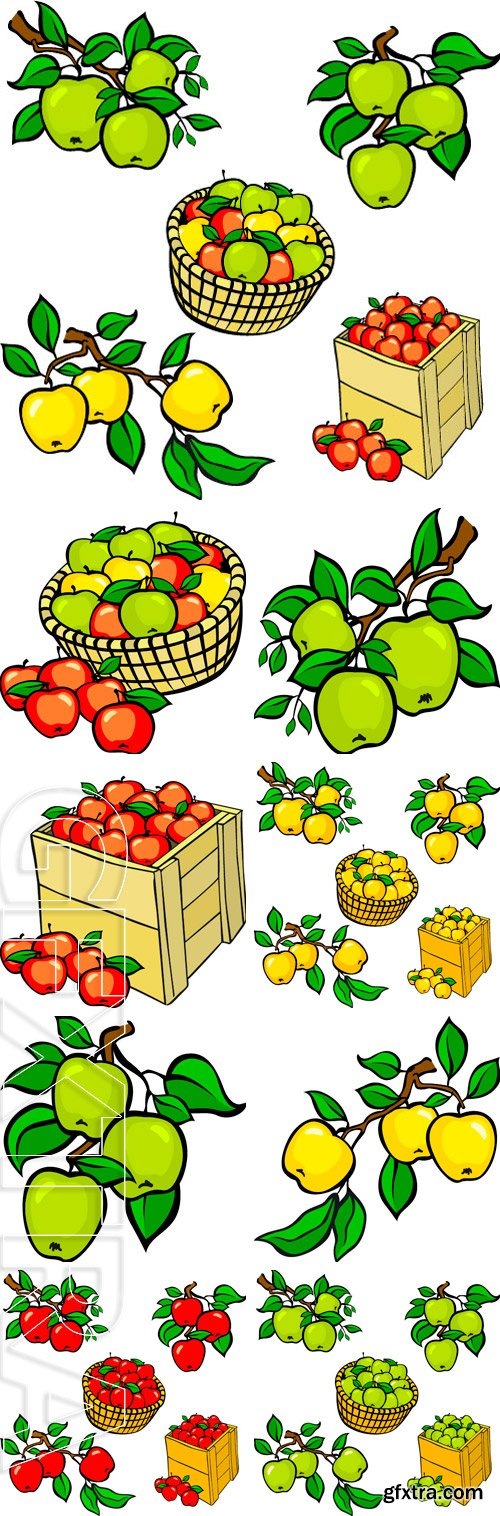 Stock Vectors - Vintage colorful apple harvest set. Fully editable  vector art