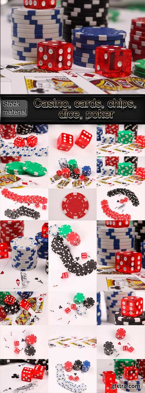 Casino, cards, chips, dice, poker