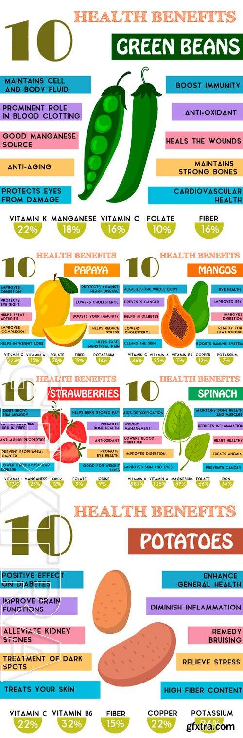 Stock Vectors - Health benefits information . Nutrients infographic, vector illustration