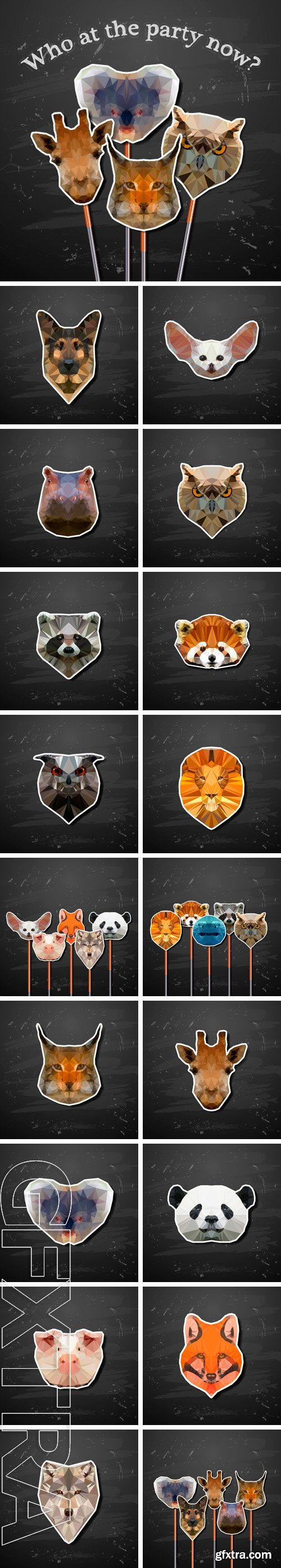 Stock Vectors - Set of animals in the style of origami abstract triangle polygonal