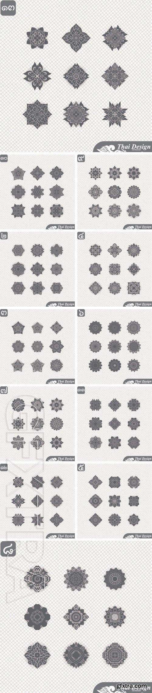 Stock Vectors - Set of Line thai art design