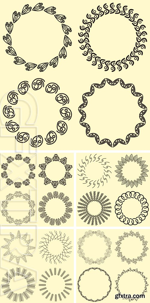 Stock Vectors - Set of ornamental frames round shape