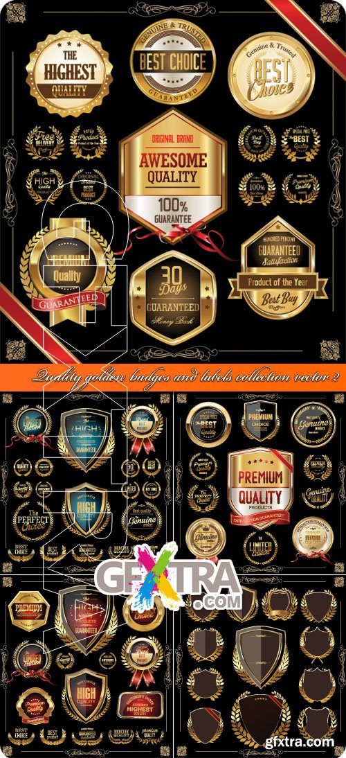 Quality golden badges and labels collection vector 2