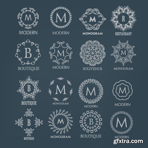 Monogram logo and calligraphic ornament elements vector 4