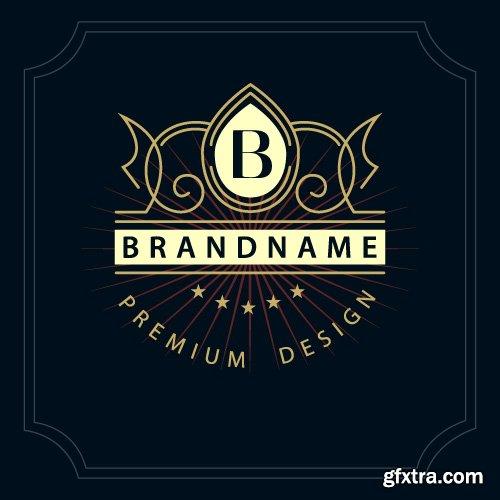 Monogram logo and calligraphic ornament elements vector 4