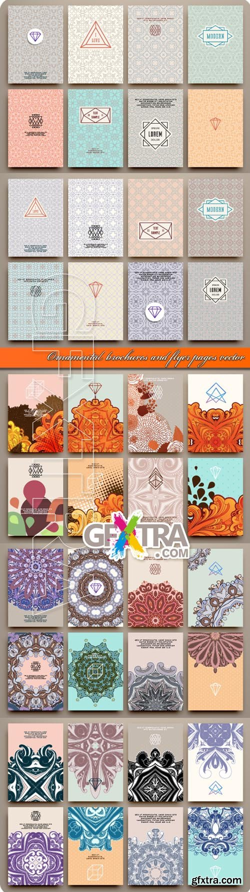 Ornamental brochures and flyer pages vector