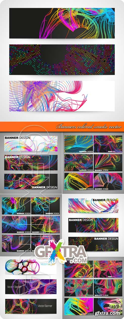 Banners colored smoke vector
