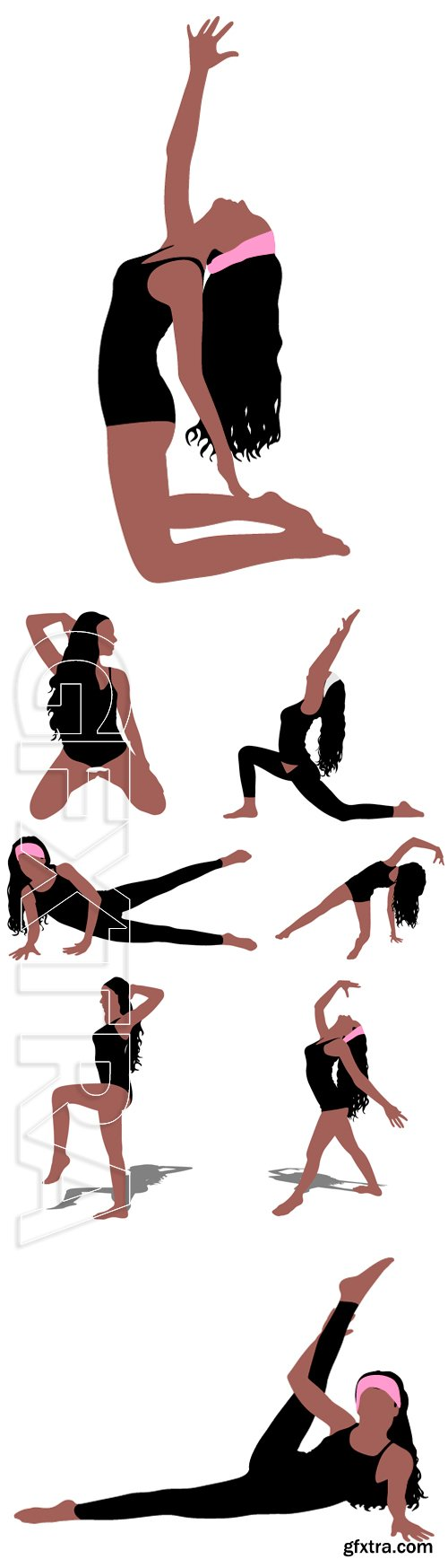 Stock Vectors - Fitness woman doing exercise, vector