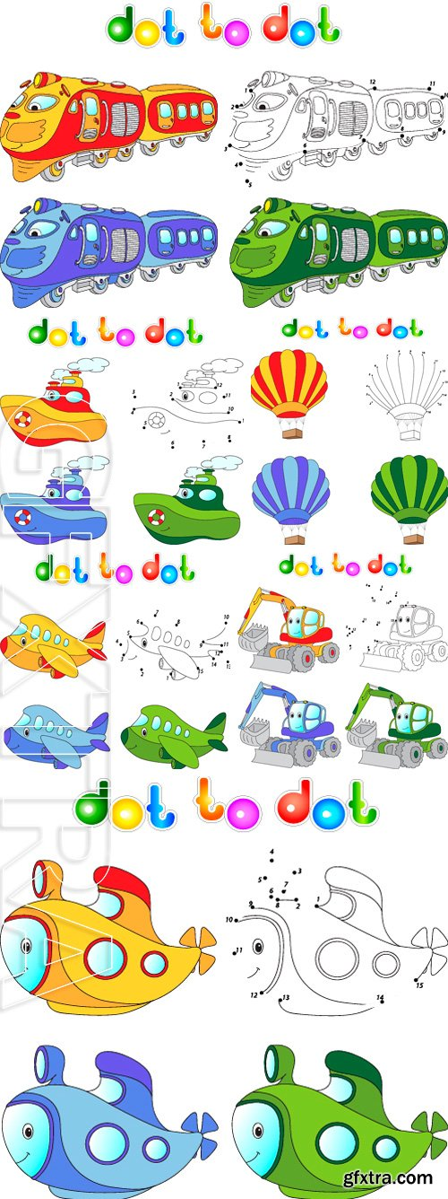 Stock Vectors - Funny cartoon. Connect dots and get image. Educational game for kids