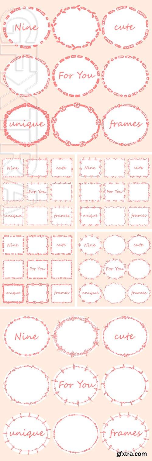 Stock Vectors - Set of nine doodles frames. Vector hand-drawn illustration
