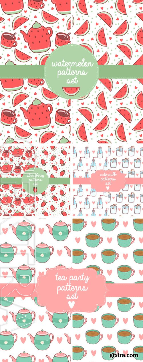 Stock Vectors - Set of two patterns with cute cartoon hand drawn. Ttextile for greeting cards, notebook covers