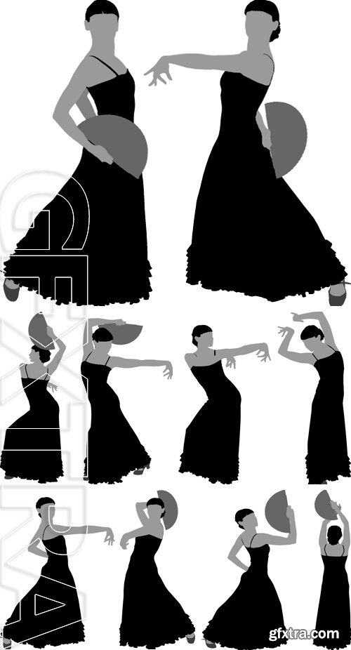 Stock Vectors - Two silhouettes of female flamenco dancer on the white background for your design