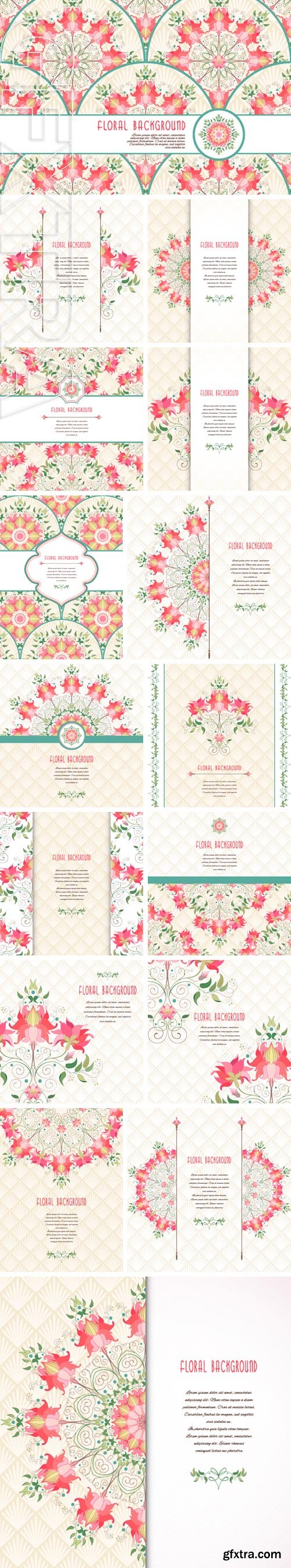 Stock Vectors - Vector card with floral pattern and ribbon. Delicate ornament . Place for your text