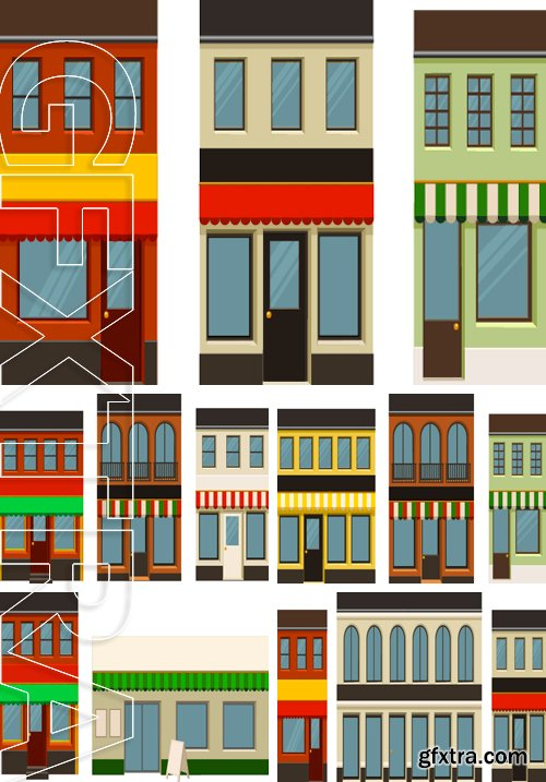 Stock Vectors - Vector illustration of individual city buildings that can be put together with other sets