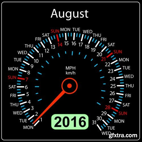 2016 year calendar speedometer car - 12 EPS