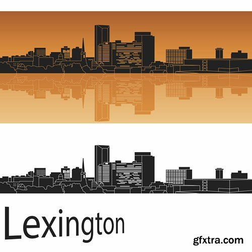 City in orange background - 13 EPS