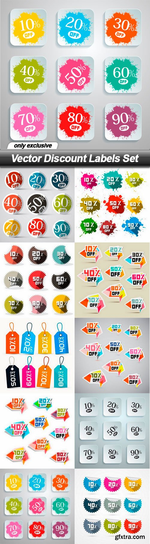 Vector Discount Labels Set - 10 EPS