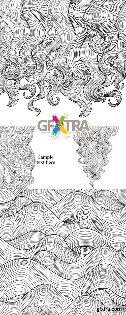 Hair Outlined Backgrounds Vector