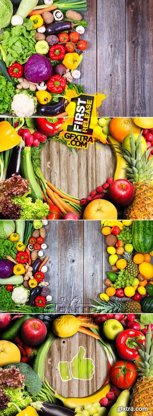 Stock Photo - Vegetables on Wooden Background 5