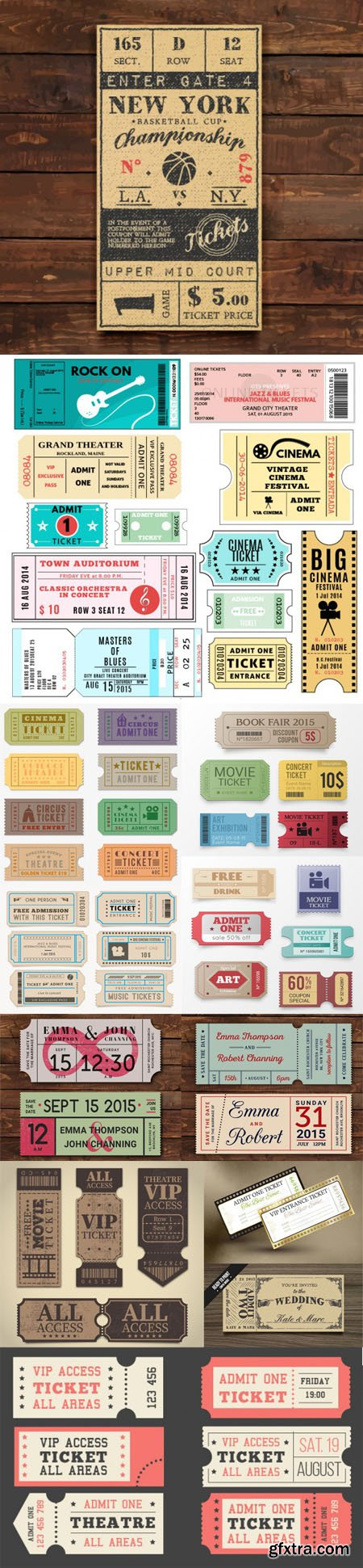 Collection of Retro,Vintage,Wedding,Cinema and VIP Tickets in Vector