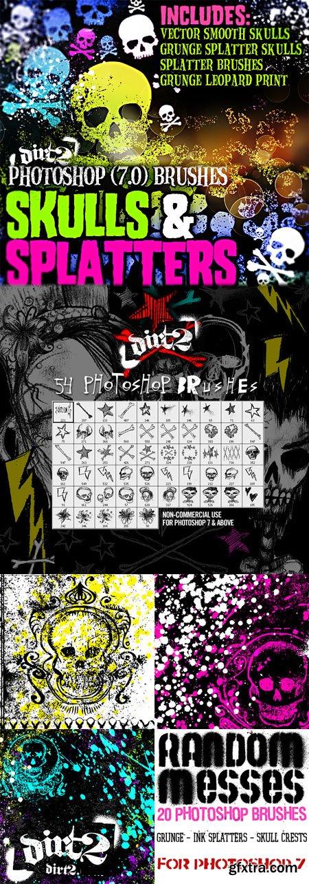 Grunge and HandDrawn Skull-Splatter Brushes for Photoshop