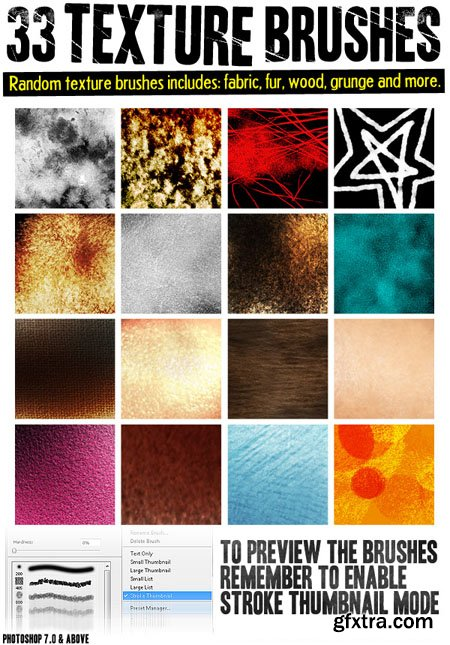 33 Textures Brushes for Photoshop