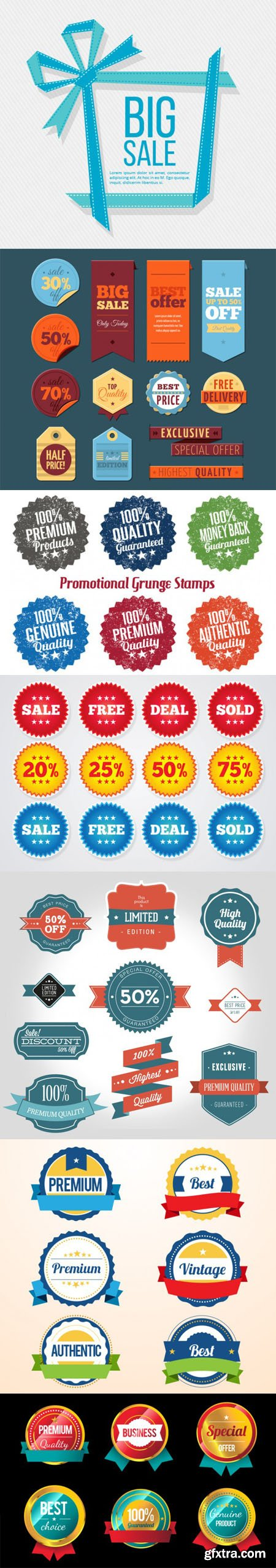 Variety of Promotion & Sales Badges and Labels in Vector