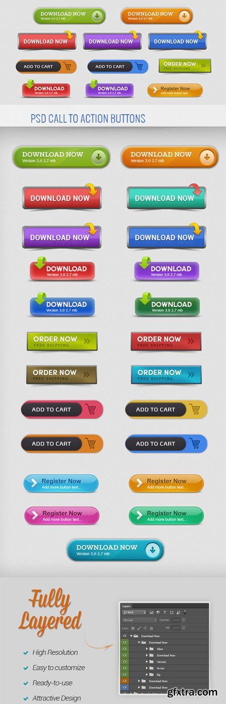 PSD Call to Action Buttons (23 Items)