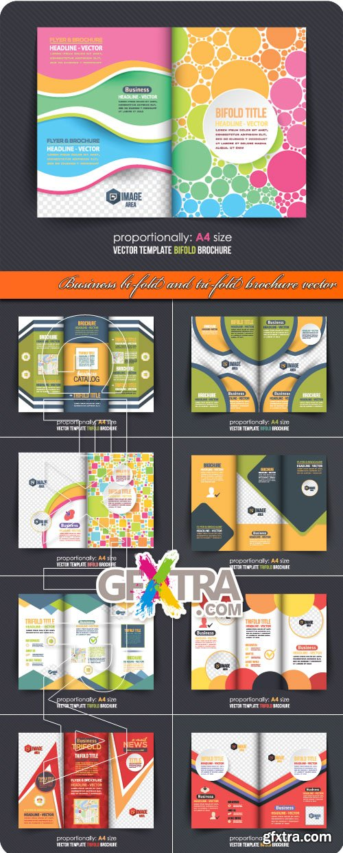 Business bi-fold and tri-fold brochure vector