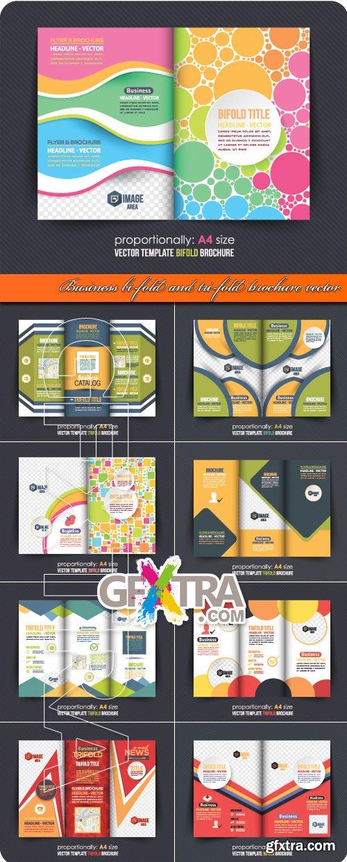 Business bi-fold and tri-fold brochure vector
