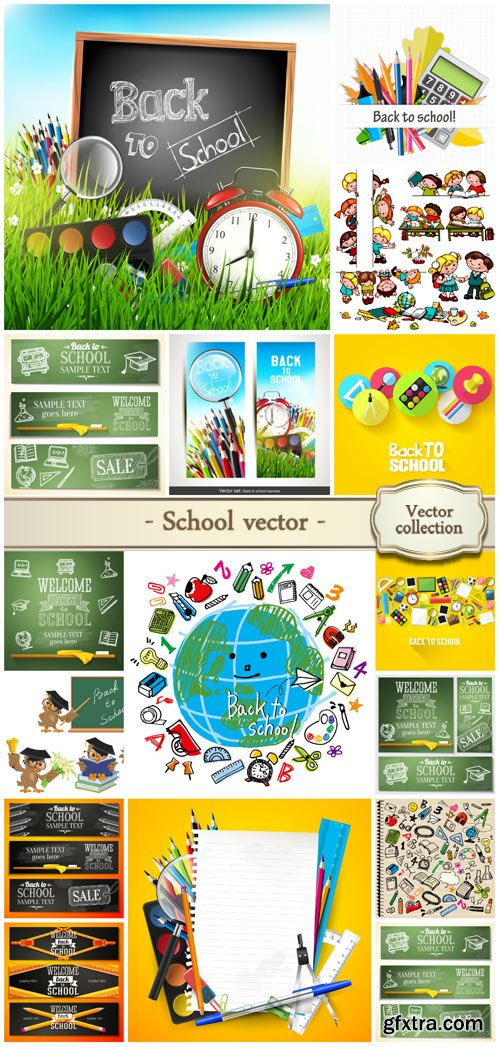 School Vector Objects & Elements 15xEPS
