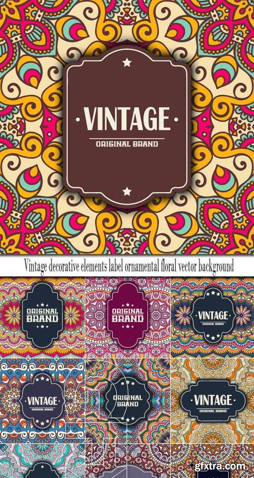Vintage decorative elements label ornamental floral vector background