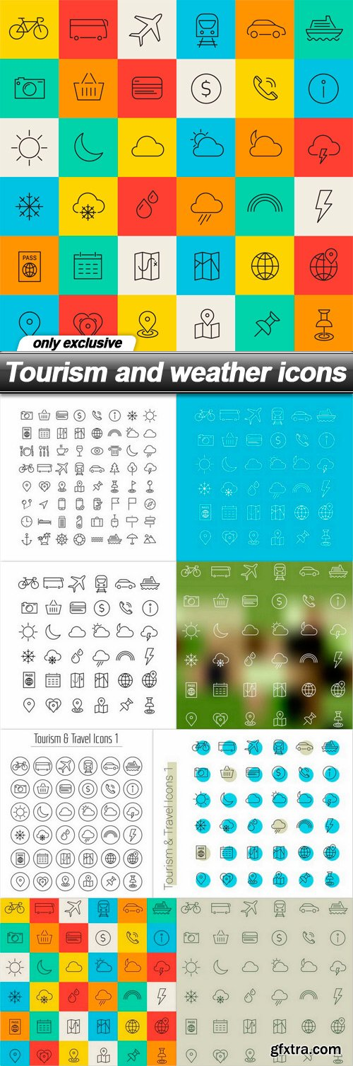 Tourism and weather icons - 8 EPS