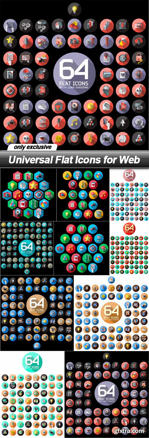 Universal Flat Icons for Web - 10 EPS