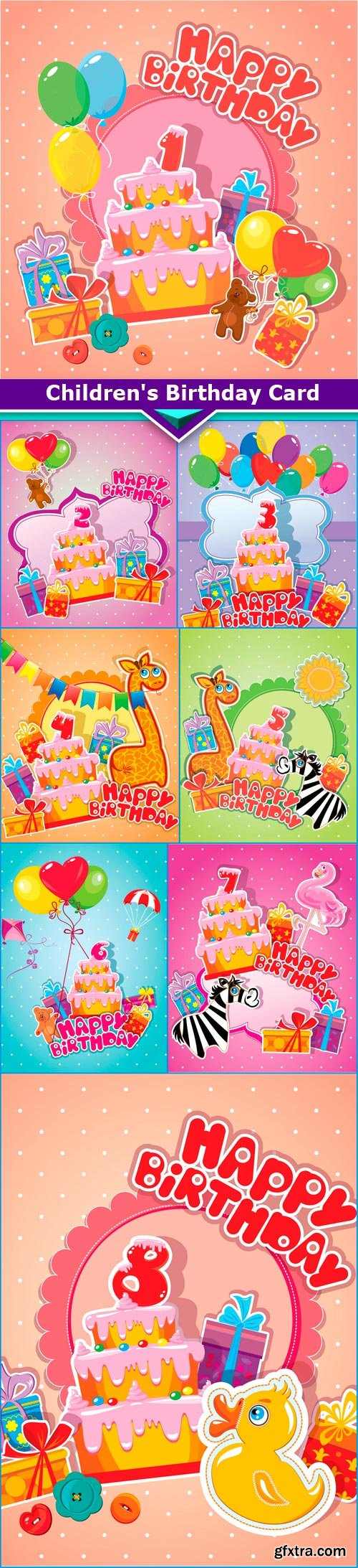 Children's Birthday Card 8x JPEG