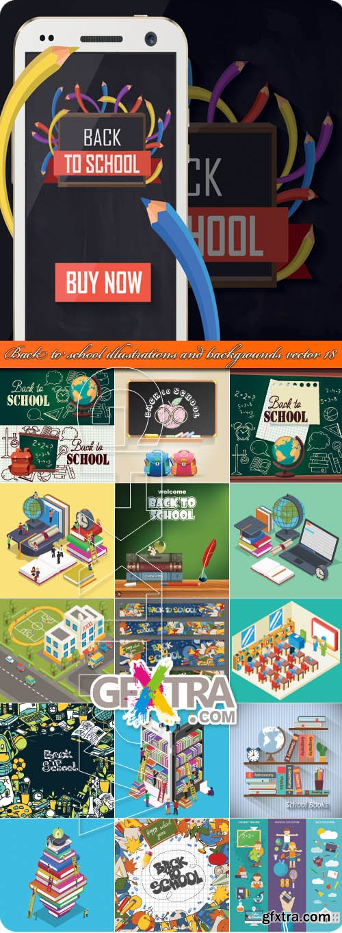 Back to school illustrations and backgrounds vector 18