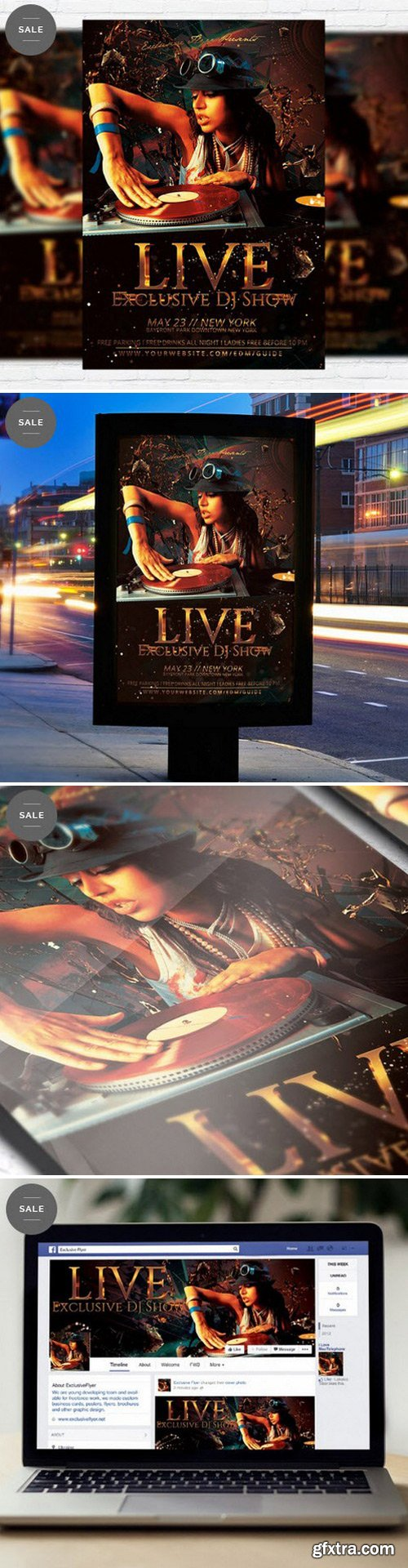 Exclusive Dj Live Show – Flyer Template + Facebook Cover