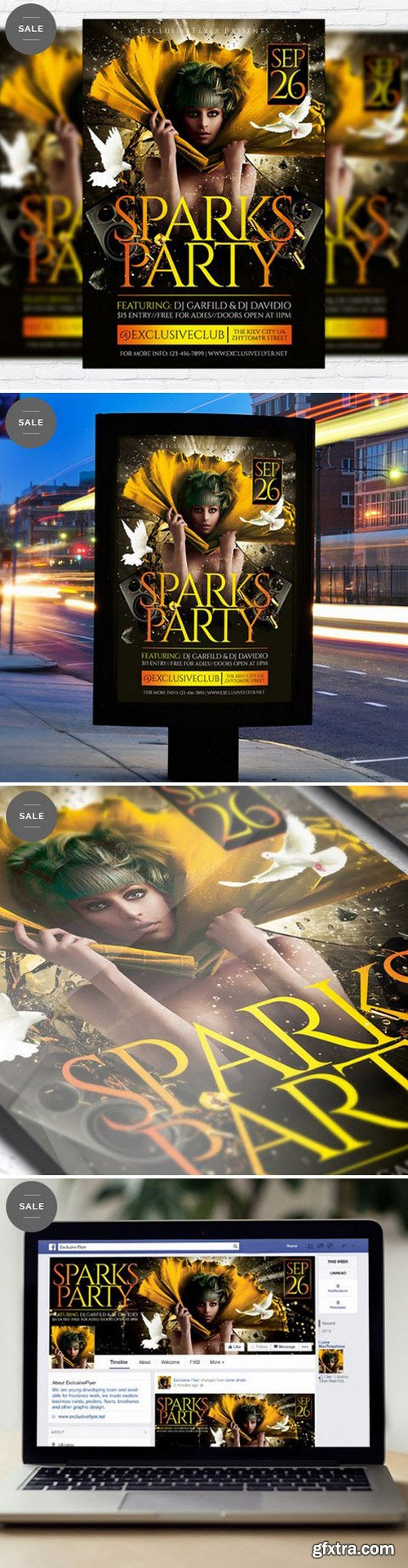 Sparks Party – Flyer Template + Facebook Cover