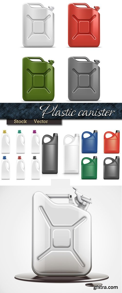 Color plastic canisters in Vector