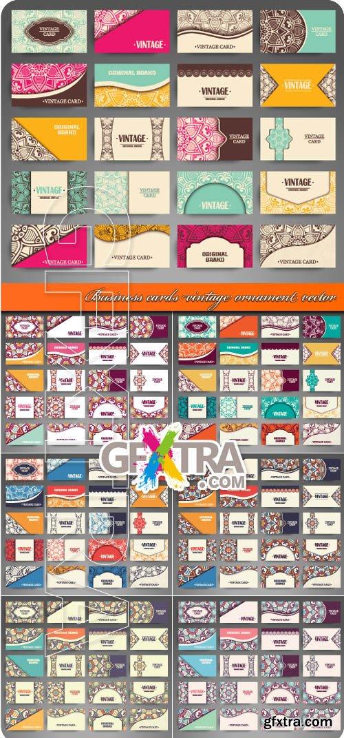 Business cards vintage ornament vector