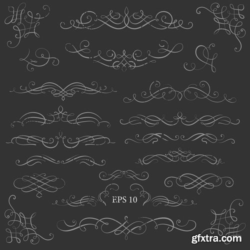 Collection of vector image calligraphic elements vintage design element #10-25 EPS