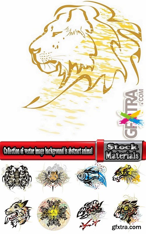 Collection of vector image background is abstract animal horse lion tiger cat 25 EPS